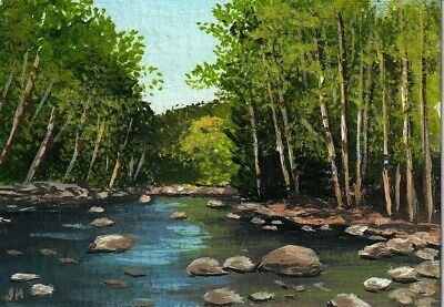 "aceo original acrylic painting ""Lazy Summer Stream"" by J. Hutson"