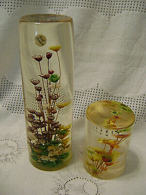 Vintage Mid Century Lucite DaisyGlas Paperweights Dry Flowers