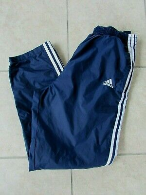 Adidas Mens Athletic Track Wind Pants Tear Away Snaps Size M Navy Blue 3 Stripe