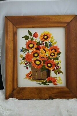 Vintage Embroidered Framed Sunflowers in a Basket Picture Beautiful