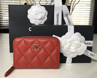 New Chanel Caviar Zip Card Holded  19B Red With Gold Hardware