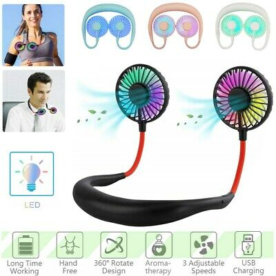 Aromatherapy LED Neckband Fan Portable Rechargeable Neck Hanging Handfree Cooler