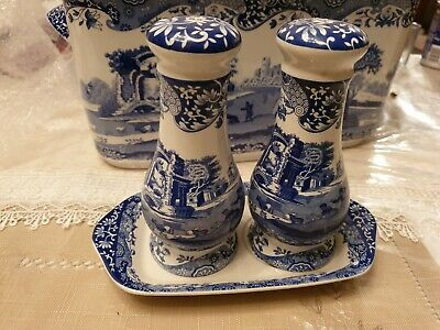 SPODE Blue Italian large salt & pepper pots with tray.