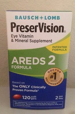 (New) Bausch + Lomb PreserVision Eye Vitamin AREDS 2 Formula 120 Softgels