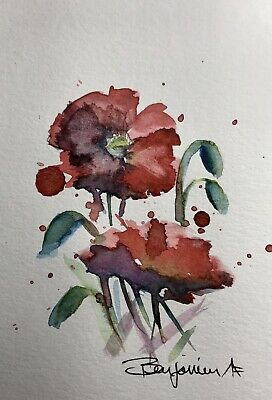 "Original Nova Scotia Watercolor Art, ""Poppies IV"", Not A print!"