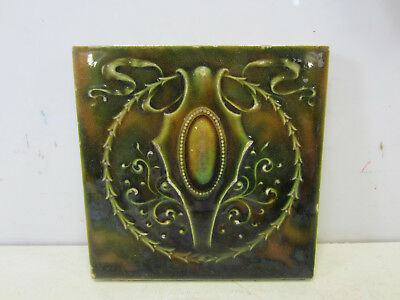 Antique Cambridge Fireplace Tile - Green w/French Design