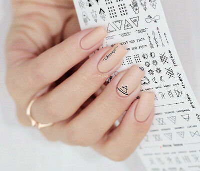Nail Art Water Decals Transfer Stickers Letter Theme Nails Decoration Tips DIY