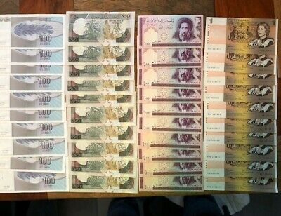 Australian and world Bank Notes Unc and continues runs of 10 x 4 lots