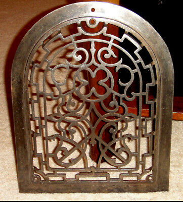 Antique Shamrock Cast Iron Arch Top Dome Heat Grate Wall Cover