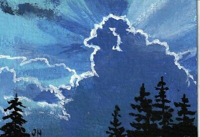 "aceo original acrylic painting ""Clouds Reaching Heavenward"" by J. Hutson"