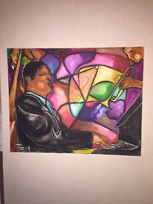 Marvin Posey Jr. Original Painting Acrylic On Canvas Jazz Pianist Artist Signed