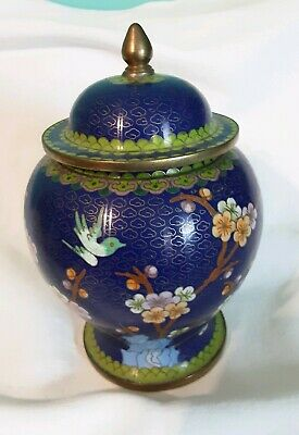 Vintage Hand Crafted Oriental Lg Cloisonne Ginger Jar Blue Bird Cherry Blossoms