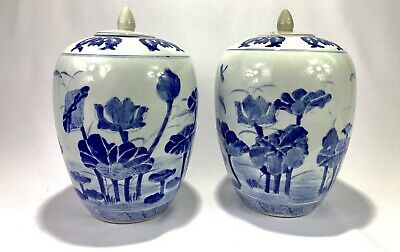 Exquisite Chinese Handmade Set Blue & White Porcelain Vase - Antique - Floral