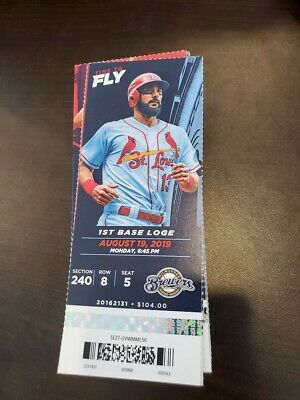 St. Louis Cardinals Milwaukee Brewers MINT Season Ticket 8/19/19 2019 MLB Stub