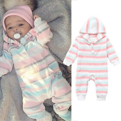 Newborn Infant Baby Kid Boy Girl Colourful Stripe Hooded Romper Jumpsuit Clothes