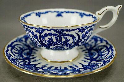 Vintage Coalport 5012 Blue Floral Scrollwork & Gold Bone China Tea Cup & Saucer