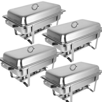 4Pcs Chafing Dishes Set 9L 304 Stainless Steel Food Warmer Restaurant Banquet
