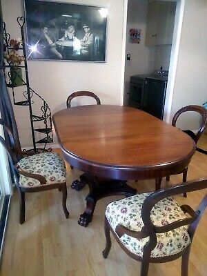 Antique Mahogany Dining table with 4 chairs 1800s