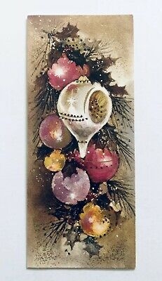 Vintage Christmas Card Mid Century Pink Ornament Glitter Holly Metallic Gold