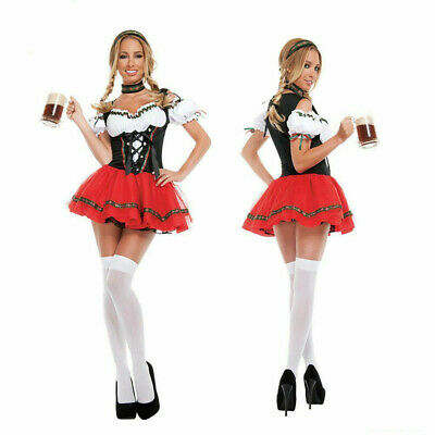 Ladies Oktoberfest Bavarian Fancy Dress Costume Red German Beer Outfit Cosplay