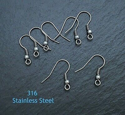 20pc 316 Stainless Steel Earring Hooks with Bead and Coil Surgical Steel  SS135