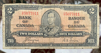 Bank of Canada King George 1937 $2 Dollar Banknote Coyne Towers COMBINE SHIPPING