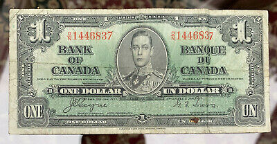 LAST ONE!  Bank of Canada King George 1937 $1 Dollar Banknote Coyne Towers O/N