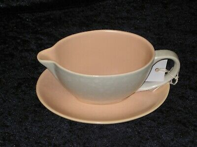 Vintage Poole Twin-tone 'Peach Bloom & ~Seagull' Sauce Boat and Stand