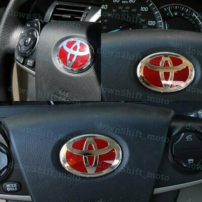 1PCS NEW RED Steering Wheel Emblem Badge Sticker For TOYOTA - 47x 68mm