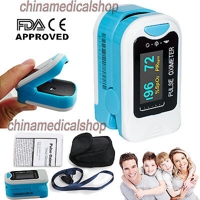CE OLED Finger Tip Pulse Oximeter SPO2 PR Blood Oxygen Heart Rate Monitor+ Pouch