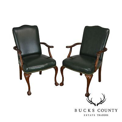 South Mark Green Leather Chippendale Style Ball & Claw Pair Armchairs (A)