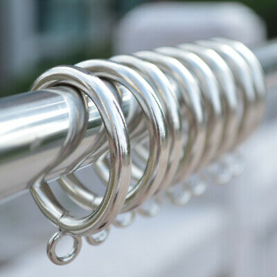 4 Colors METAL CURTAIN RINGS HOOKS POLE ROD VOILE NET CURTAINS HANGING 28-55mm