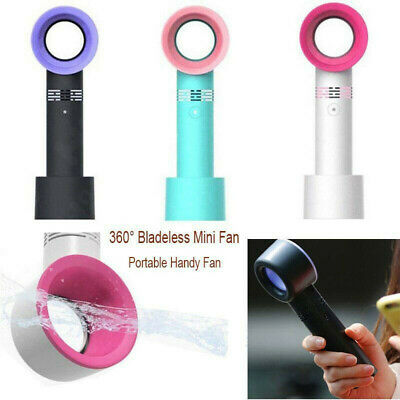 360 Degrees Portable Bladeless Hand Held Cooler Mini USB No Leaf Handy Fan New