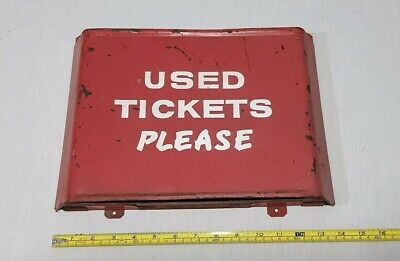 """Vintage """"Used Tickets Please"""" Disposal Bin may suit Train Tram or Bus Collector"""