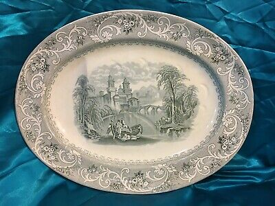 Large Antique Platter With Drip Well