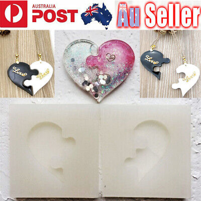 Puzzle Heart Silicone Pendant Jewelry Mold Resin Necklace Mould Casting Craft