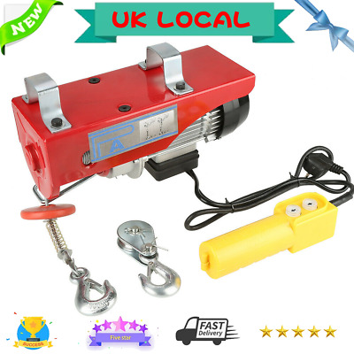 Steel Wire 220V Electric Winch Hoist Crane Scaffold Cable Lifting Lift 100-600Kg