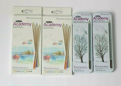 2 Packs Of Sketching Pencils And Watercolour Pencils, Derwent Academy, Art