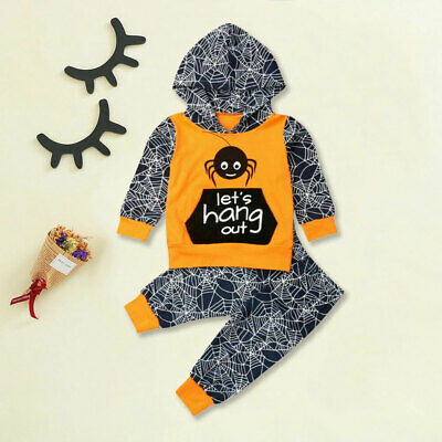 AU Infant Baby Boy Halloween Spider Hooded Top Pants Leggings Outfit Clothes Set