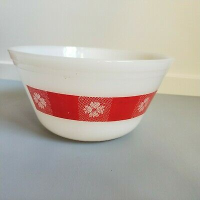 Vintage Federal White Milk Glass Mixing Bowl Red Picnic Check Gingham
