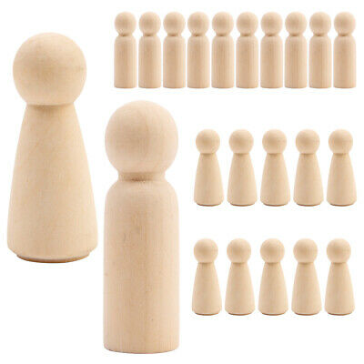20PCS Wooden Peg Doll Unfinished Plain Blank Bodies Angel Dolls For DIY Craft