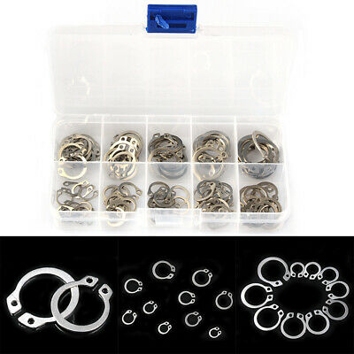 100x 304 Stainless Steel External Circlip Retaining Ring Assorted Kit Set 8-18mm