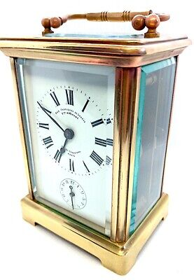 FINE ANTIQUE 19th Century FRENCH CARRIAGE + Alarm clock, sign. PARIS SEBASTOPOL