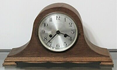Vintage HALLER A G Wooden Humpback Mantel Clock w/ Key - Made In Germany