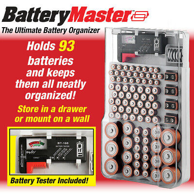 Bell + Howell Battery Master Organizer Box W/ Battery Tester Hold 93 Batteries