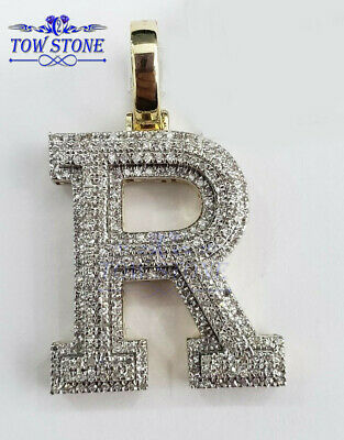 0.25CT Brilliant Round Letter P Initial Pendant Necklace 14K Yellow Gold