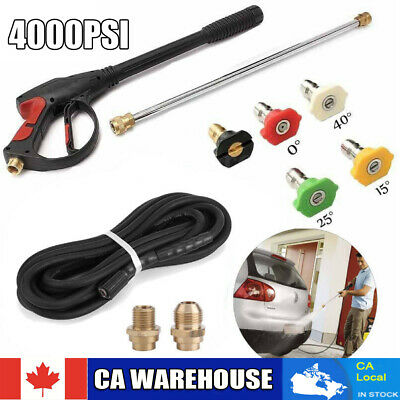 High Power Pressure Water Car Washer Spray Gun 4000 PSI Lance Hose Nozzle Kit