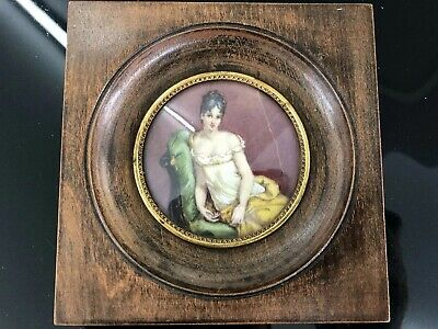 ANTIQUE FRENCH 19th CENTURY PORTRAIT MINIATURE PAINTING OF A LADY