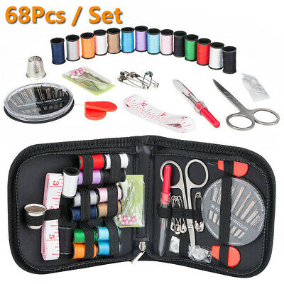 68Pc/Set Home Travel Thread Threader Needle Sewing Kit Measure Tape Scissor Clip