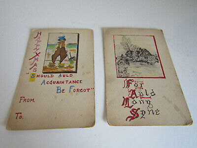 Art Deco 1920s Era Hand Drawn Auld Lang Syne & Happy Xmas Postcards